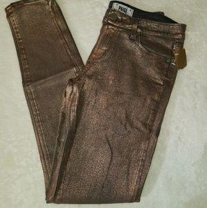 PAIGE bronze coated denim skinny stretch jean.